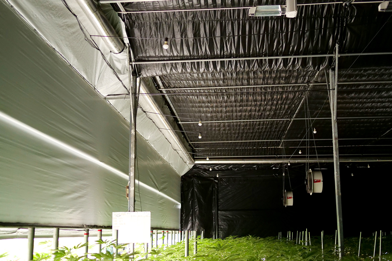 Blackout System installed in a grow warehouse